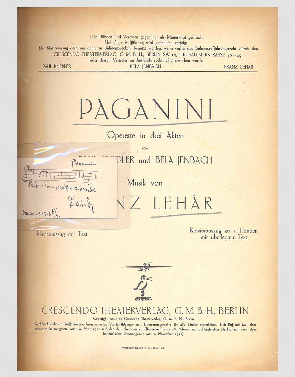 Paganini Sheet Music By Franz Lehar Abauj Antikvarium Es Konyvlap